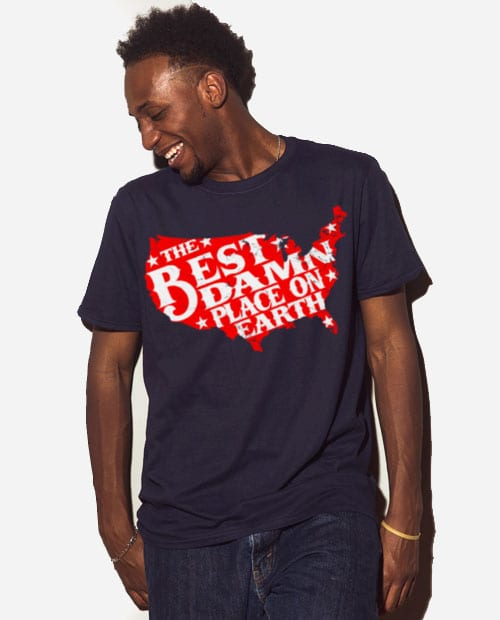Best Place on Earth Graphic T-Shirt - navy shirt design on a model