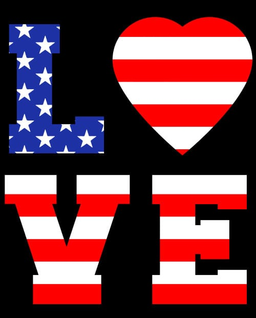 American Flag Love Graphic T-shirt main vector design