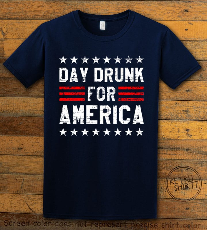 Day Drunk For America Graphic T-Shirt - navy shirt design
