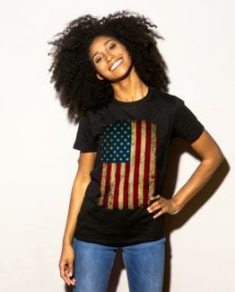 Distressed American Flag Graphic T-Shirt - black shirt design on model