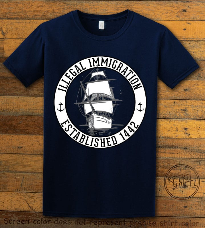Illegal Immigration 1442 Founding Graphic T-Shirt - navy shirt design