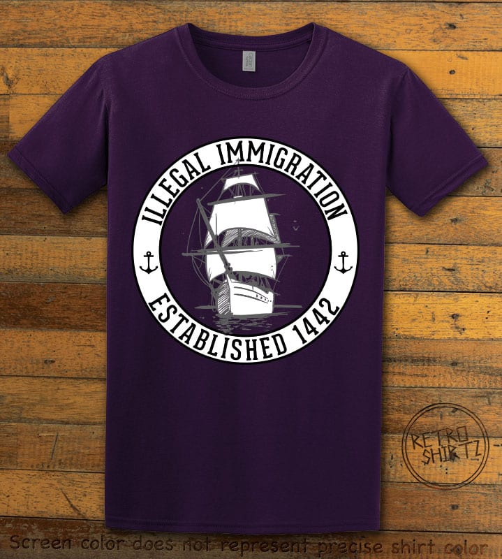 Illegal Immigration 1442 Founding Graphic T-Shirt - purple shirt design
