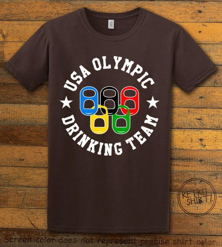 USA Olympic Drinking Team Graphic T-Shirt - brown shirt design