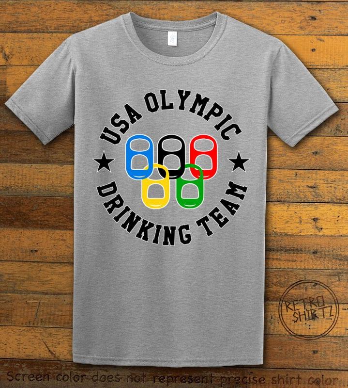 USA Olympic Drinking Team Graphic T-Shirt - gray shirt design