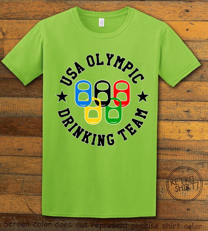 USA Olympic Drinking Team Graphic T-Shirt - lime shirt design