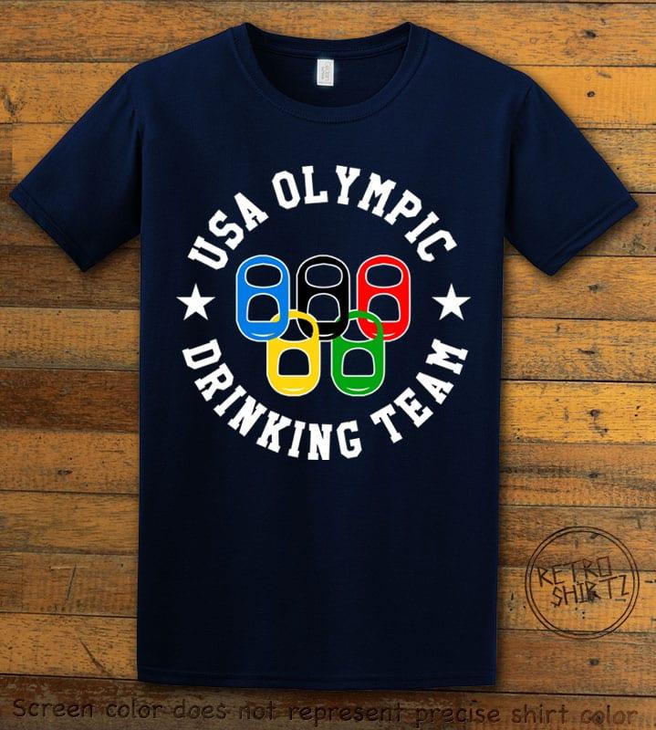 USA Olympic Drinking Team Graphic T-Shirt - navy shirt design