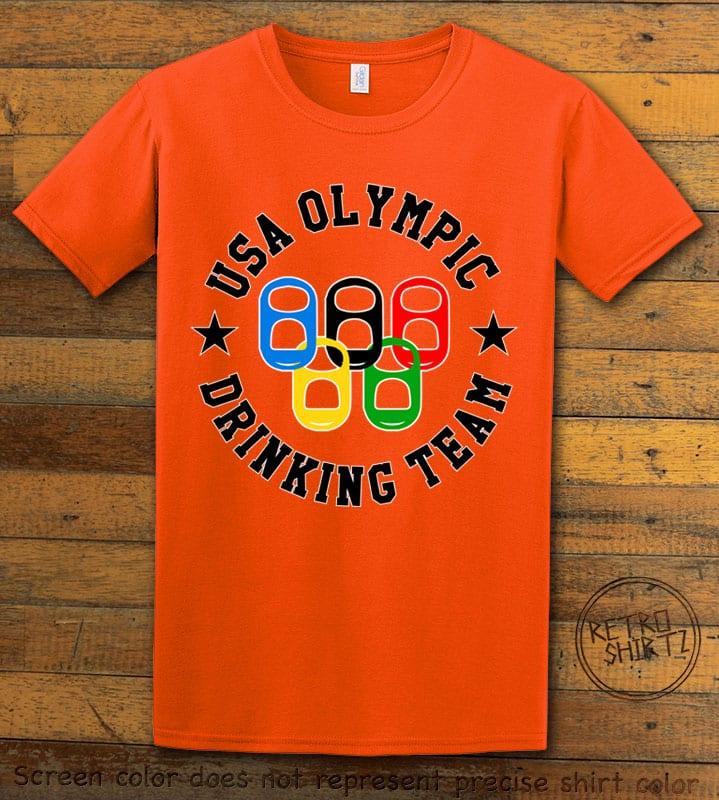 USA Olympic Drinking Team Graphic T-Shirt - orange shirt design
