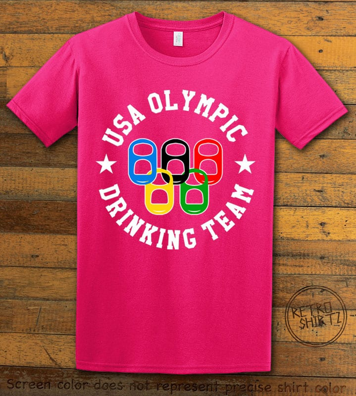 USA Olympic Drinking Team Graphic T-Shirt - pink shirt design