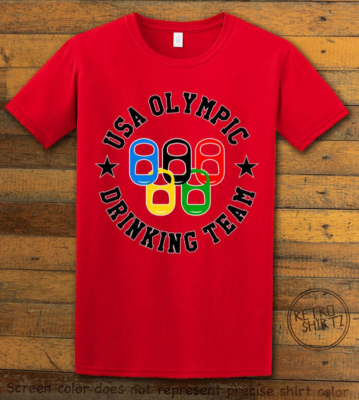 USA Olympic Drinking Team Graphic T-Shirt - red shirt design