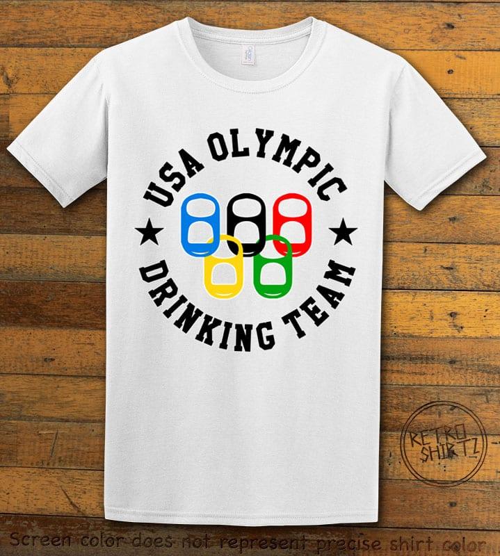 USA Olympic Drinking Team Graphic T-Shirt - white shirt design