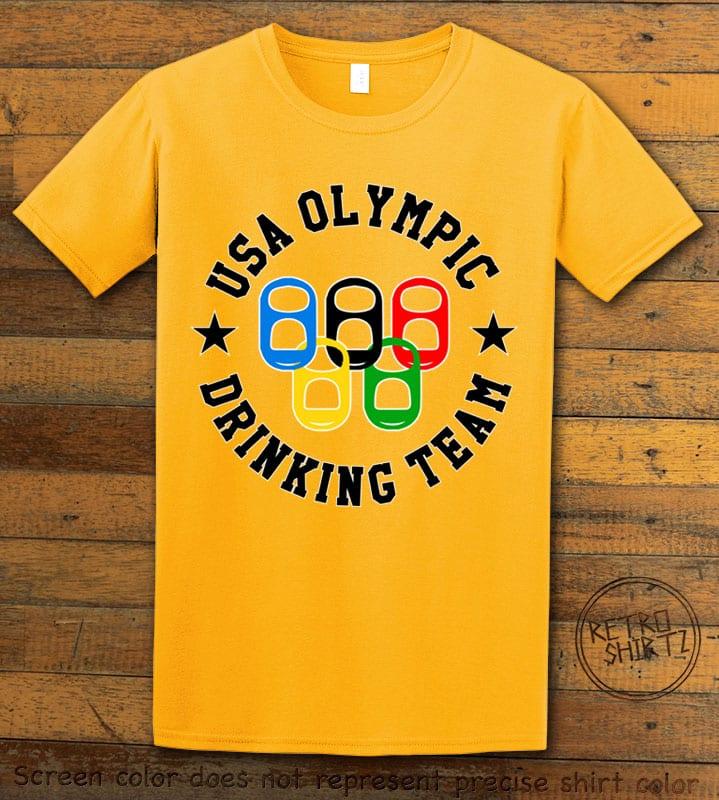 USA Olympic Drinking Team Graphic T-Shirt - yellow shirt design