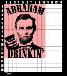 These are the graphic design dimensions for Abraham Drinkin'