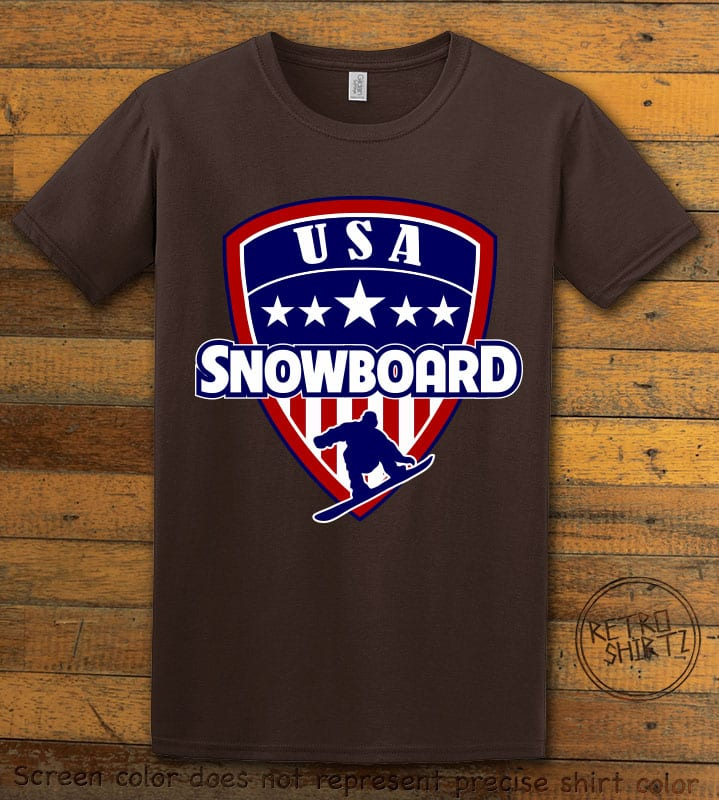 USA Snowboard Team Graphic T-Shirt - brown shirt design