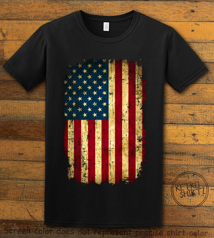 Distressed American Flag Graphic T-Shirt - black shirt design