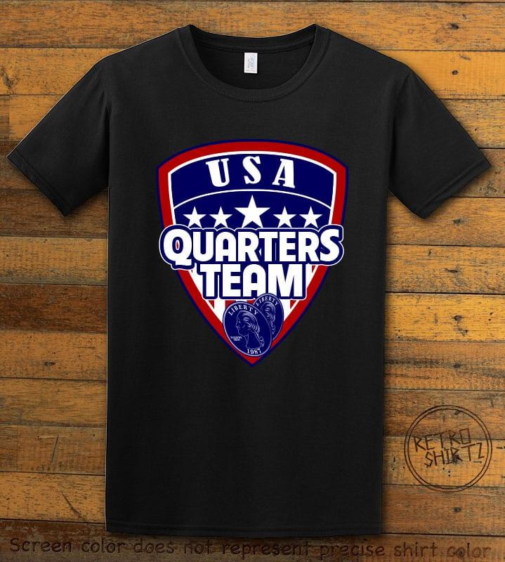 USA Quarters Team Graphic T-Shirt - black shirt design