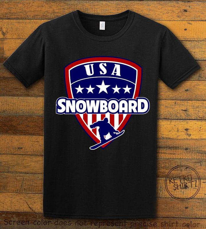 USA Snowboard Team Graphic T-Shirt - black shirt design