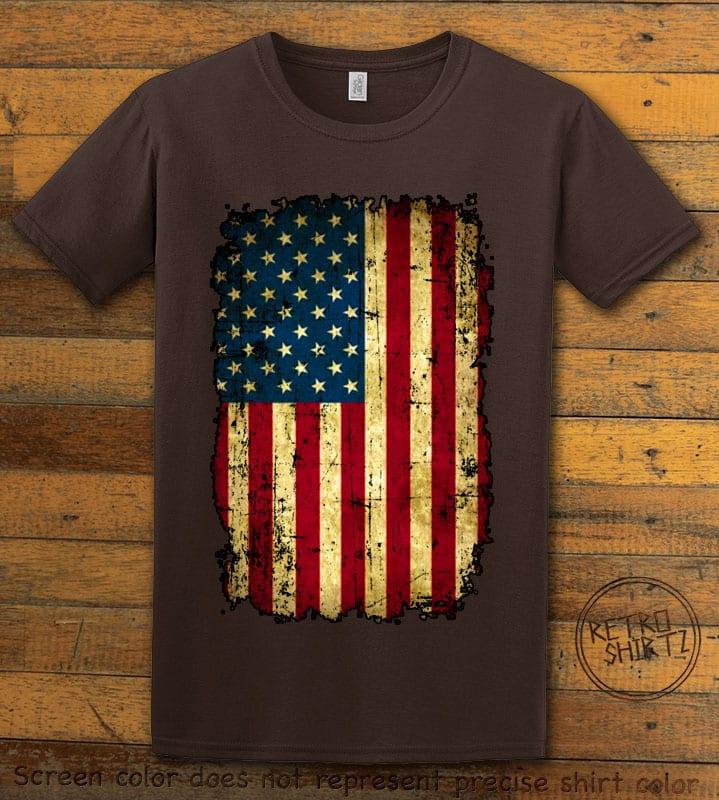 Distressed American Flag Graphic T-Shirt - brown shirt design