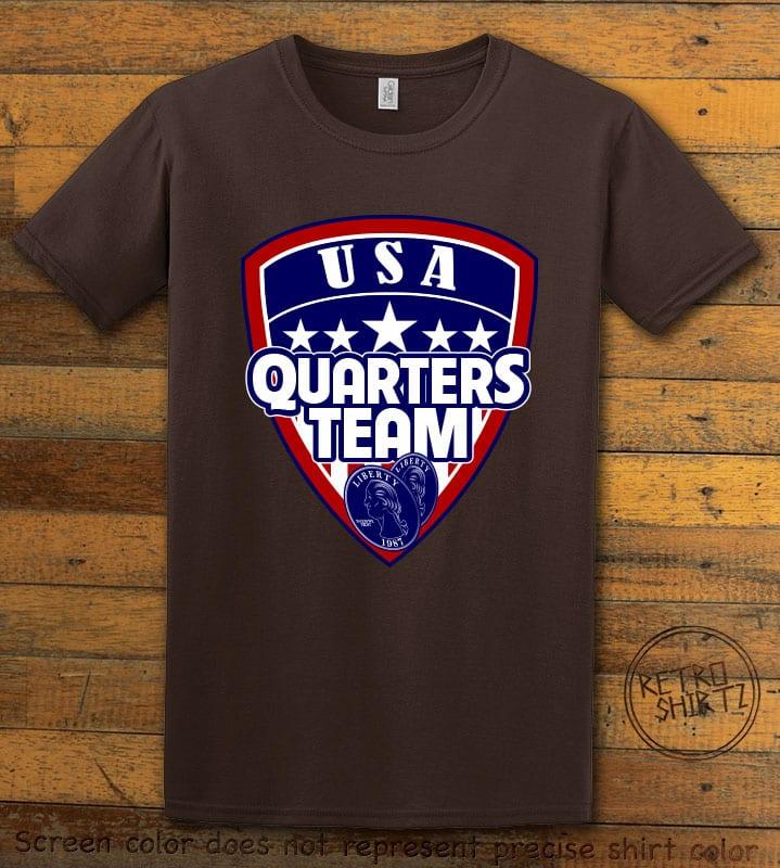 USA Quarters Team Graphic T-Shirt - brown shirt design