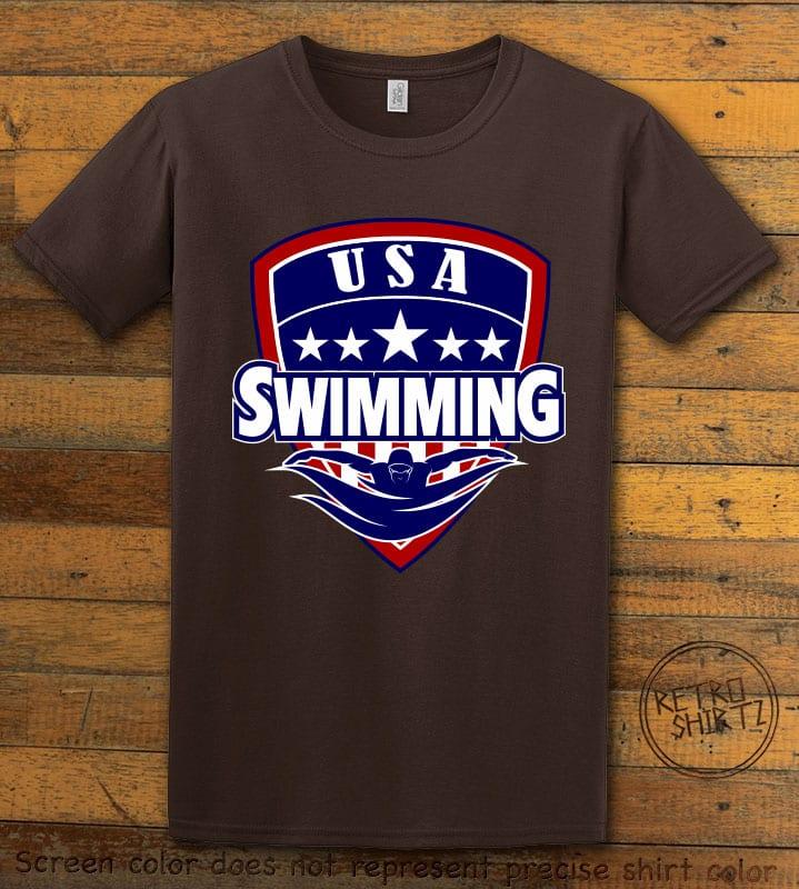 USA Swimming Team Graphic T-Shirt - brown shirt design
