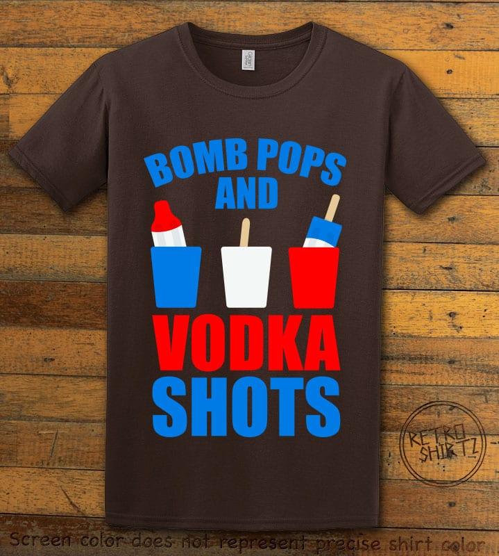 Bomb Pops and Vodka Shots Graphic T-Shirt - brown shirt design