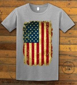 Distressed American Flag Graphic T-Shirt - gray shirt design