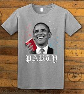 Party Obama Graphic T-Shirt - gray shirt design