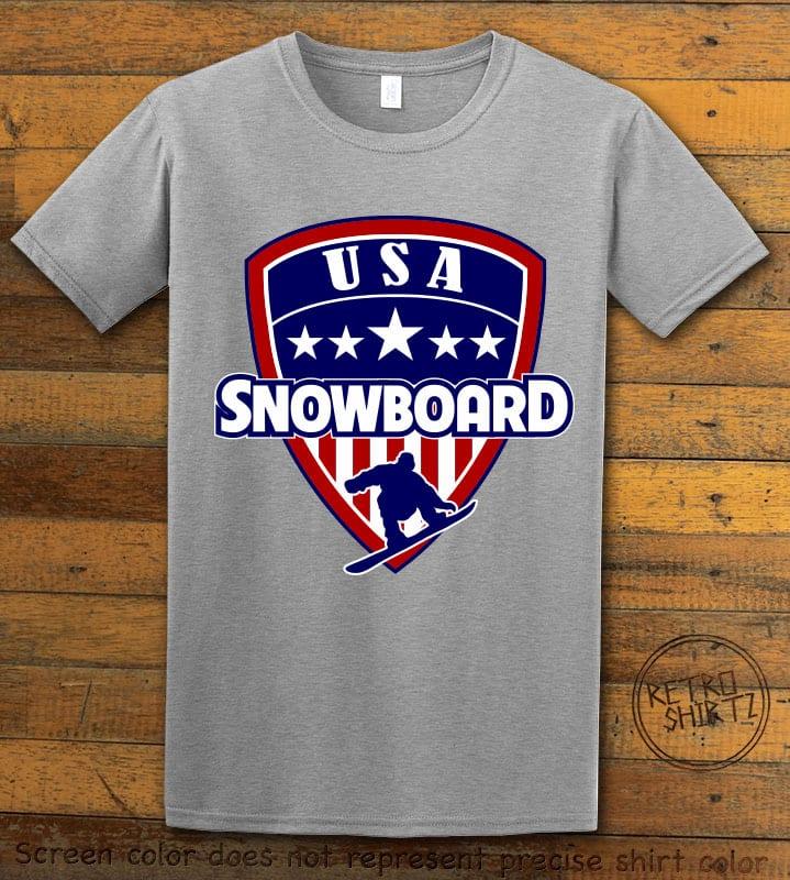USA Snowboard Team Graphic T-Shirt - gray shirt design
