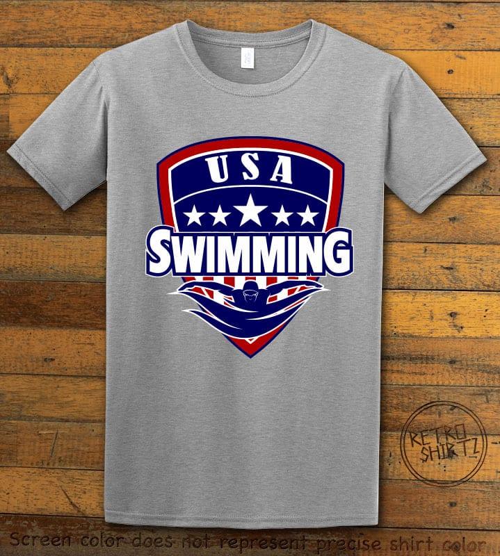 USA Swimming Team Graphic T-Shirt - gray shirt design