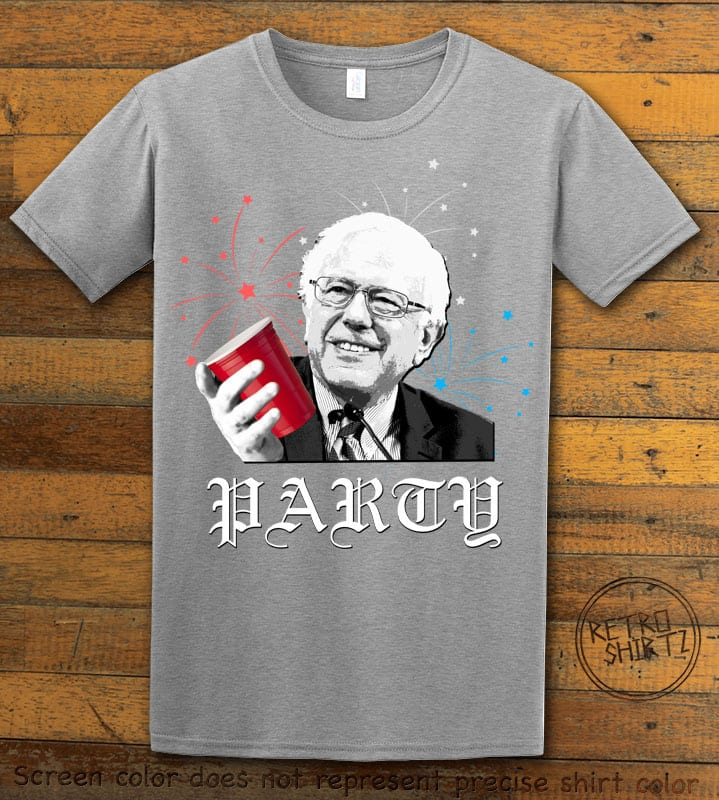 Party Bernie Graphic T-Shirt - gray shirt design