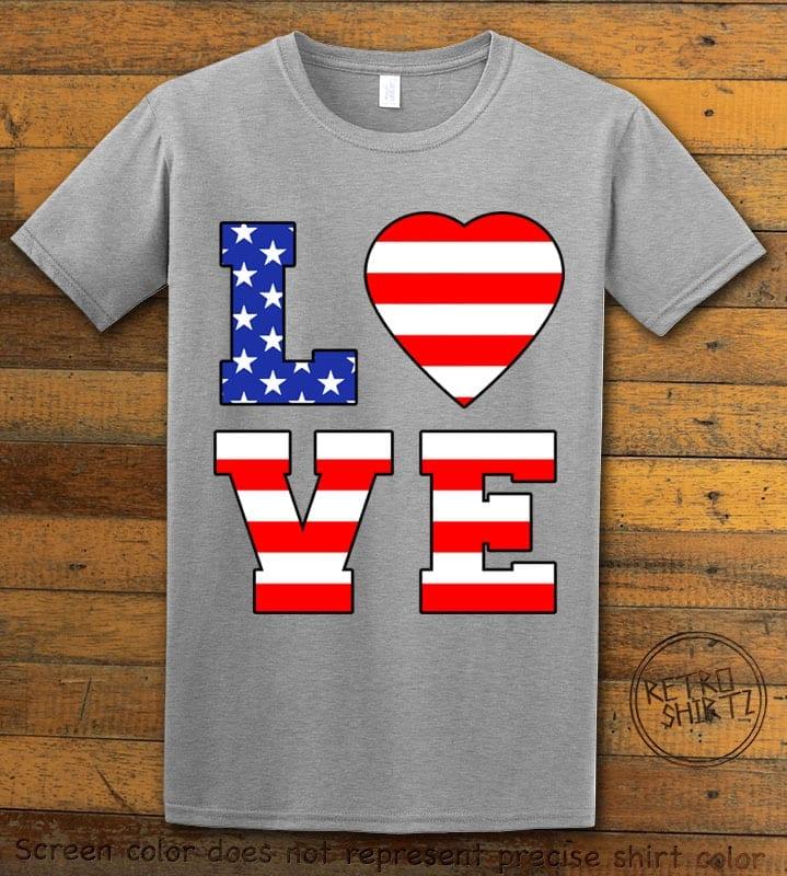 American Flag Love Graphic T-shirt - gray shirt design