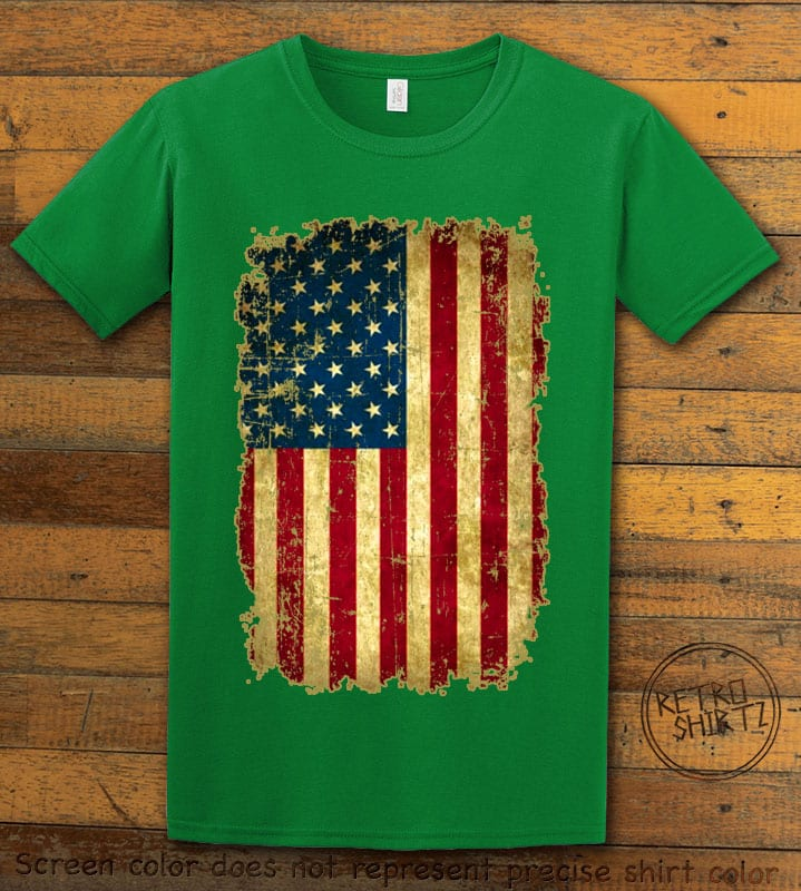 Distressed American Flag Graphic T-Shirt - green shirt design