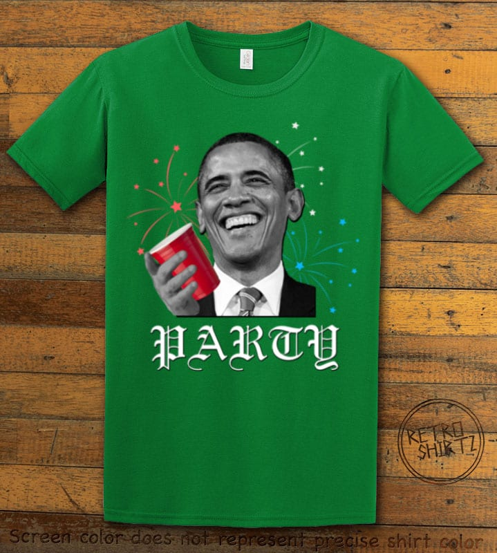 Party Obama Graphic T-Shirt - green shirt design