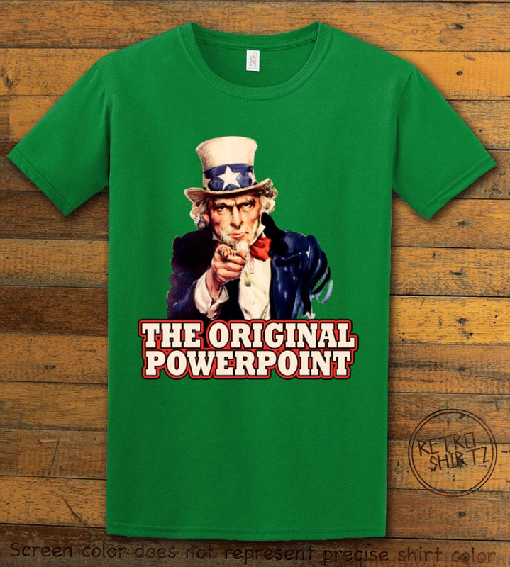 The Original Power Point Graphic T-Shirt - green shirt design