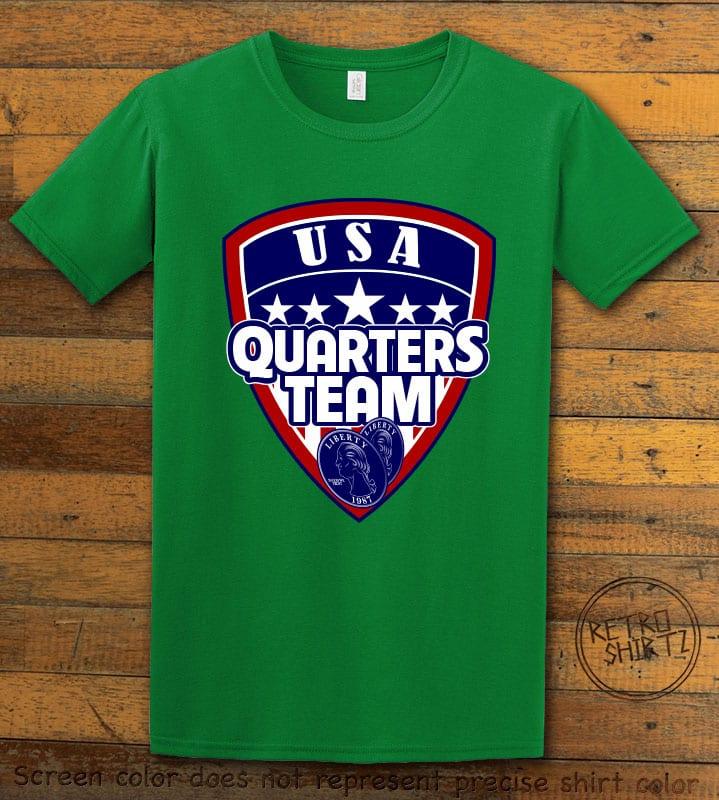 USA Quarters Team Graphic T-Shirt - green shirt design