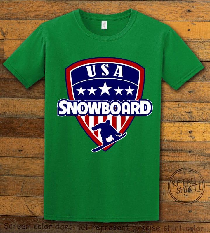USA Snowboard Team Graphic T-Shirt - green shirt design