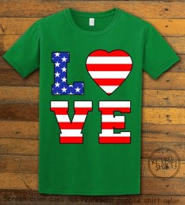 American Flag Love Graphic T-shirt - green shirt design
