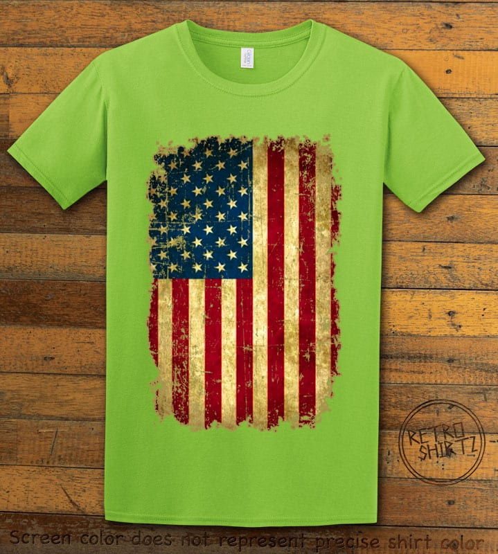 Distressed American Flag Graphic T-Shirt - lime shirt design