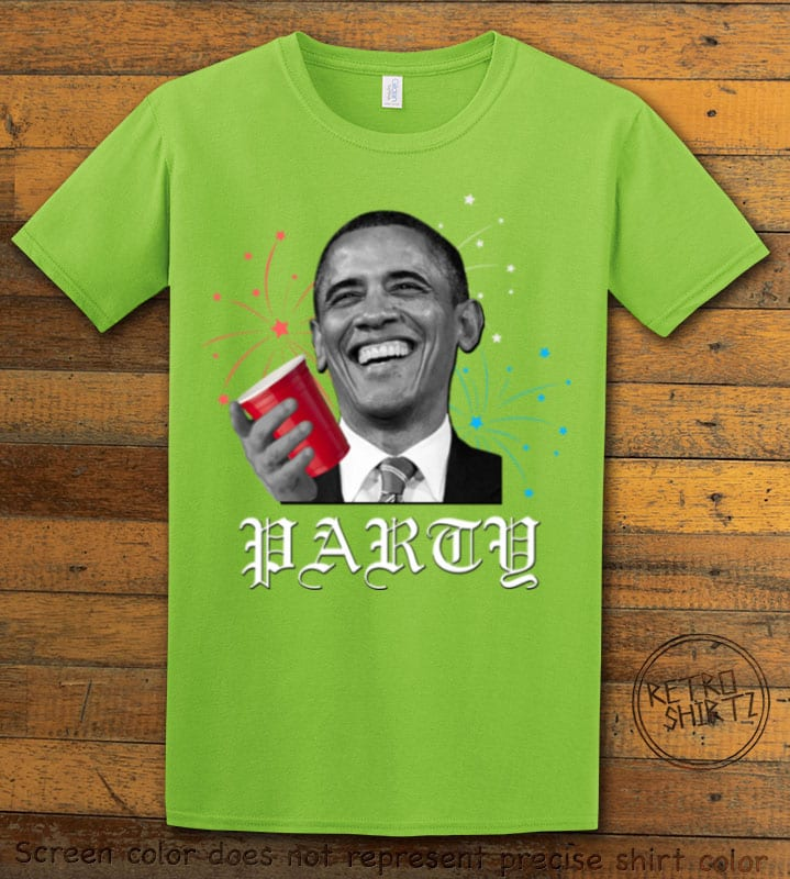 Party Obama Graphic T-Shirt - lime shirt design