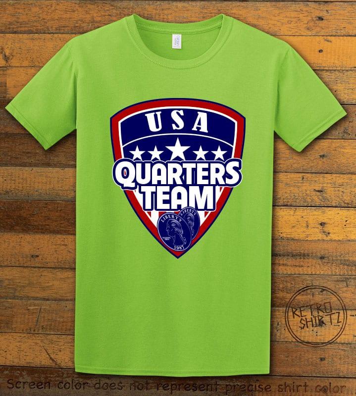 USA Quarters Team Graphic T-Shirt - lime shirt design