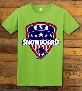 USA Snowboard Team Graphic T-Shirt - lime shirt design