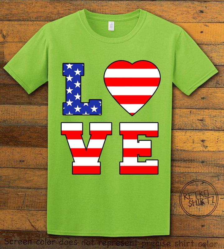 American Flag Love Graphic T-shirt - lime shirt design