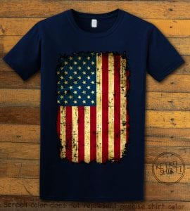 Distressed American Flag Graphic T-Shirt - navy shirt design