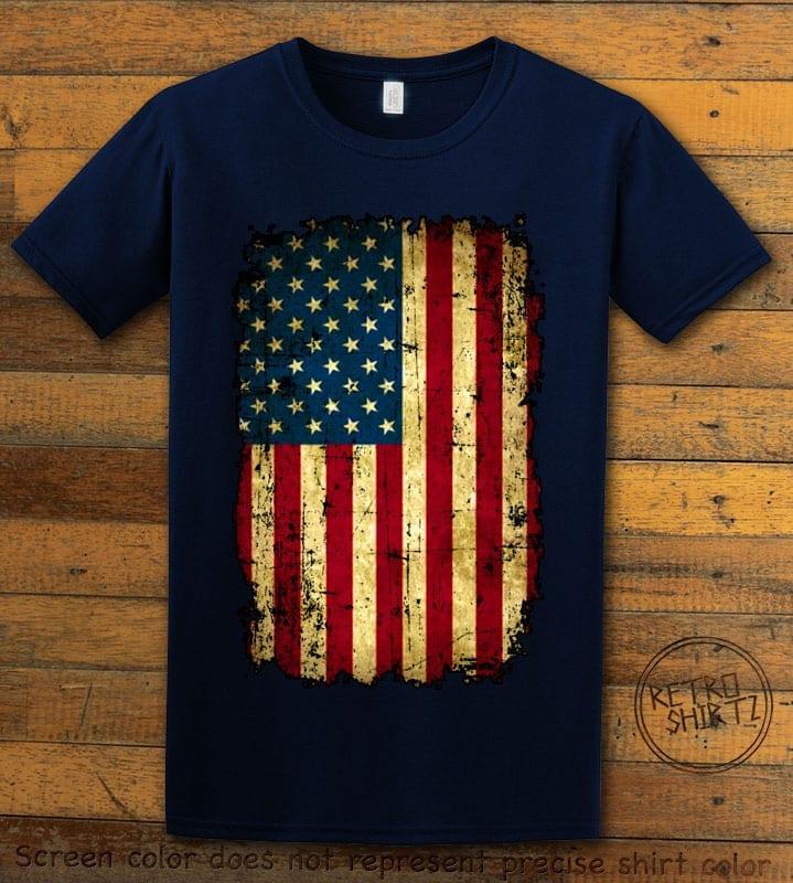 Distressed American Flag Graphic T-Shirt - navy shirt design