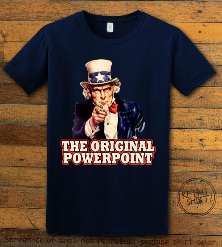 The Original Power Point Graphic T-Shirt - navy shirt design