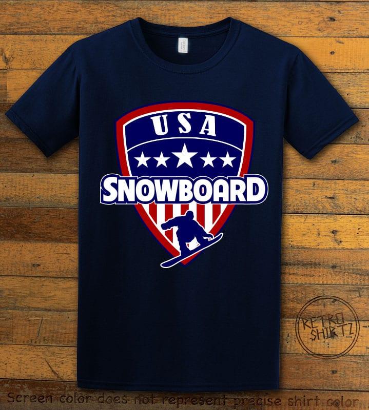 USA Snowboard Team Graphic T-Shirt - navy shirt design