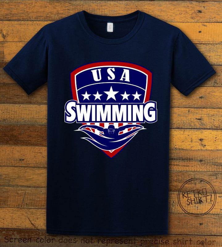 USA Swimming Team Graphic T-Shirt - navy shirt design