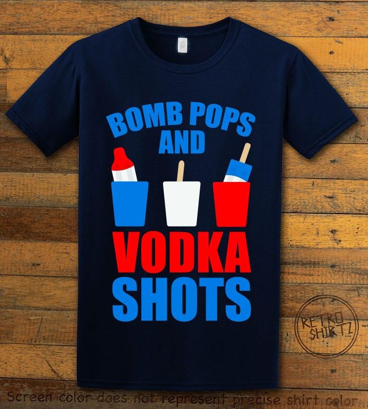 Bomb Pops and Vodka Shots Graphic T-Shirt - navy shirt design