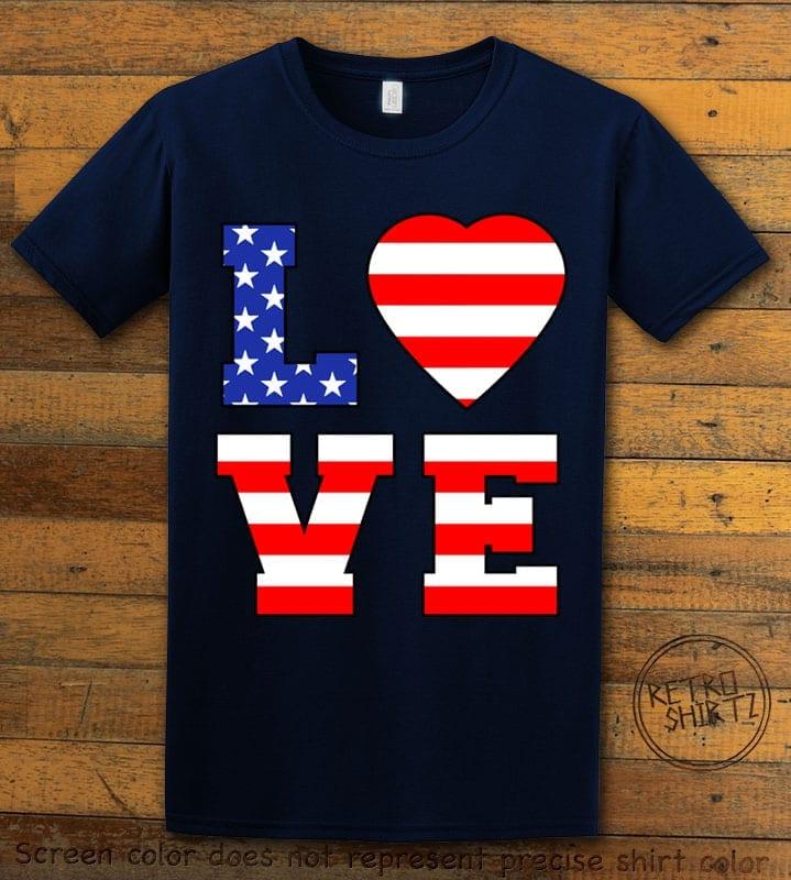 American Flag Love Graphic T-shirt - navy shirt design