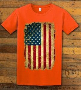 Distressed American Flag Graphic T-Shirt - orange shirt design