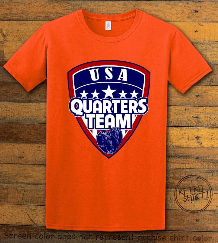 USA Quarters Team Graphic T-Shirt - orange shirt design